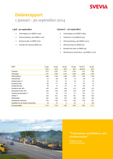 Svevia Delårsrapport januari - september 2014