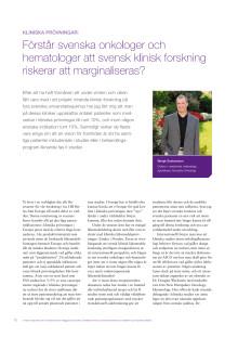Att inkludera patienter i klinisk forskning - Bengt Gustavsson, medicinsk chef, rapporterar från ASCO 2010
