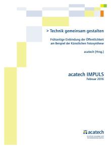 PDF der Publikation acatech IMPULS Künstliche Fotosynthese