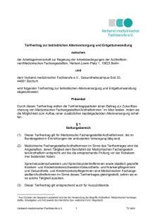 Tarifvertrag zur betrieblichen Altersversorgung und Entgeltumwandlung für medizinische Fachangestellte