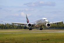 Emirates landet på Oslo Lufthavn