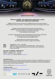 Inbjudan till event om Gamerz 9 mars