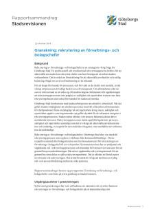 Sammandrag för revisionsrapporten om rekrytering av förvaltnings- och bolagschefer