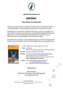 Jakttider, seminarium på Öster Malma den 1 november 2016
