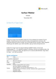Faktaark Surface Pro 4 tilbehør