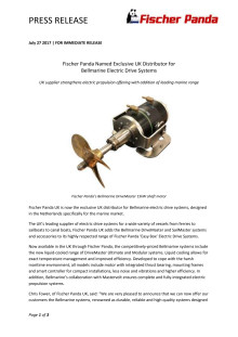 Fischer Panda Named Exclusive UK Distributor for  Bellmarine Electric Drive Systems