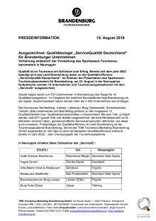 """Ausgezeichnet: Qualitätssiegel """"ServiceQualität Deutschland"""" für Brandenburger Unternehmen"""