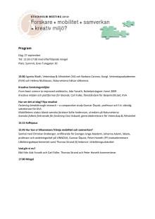 Program Stockholm Meeting 2012 - Forskning + Mobilitet + Samverkan = Kreativ miljö