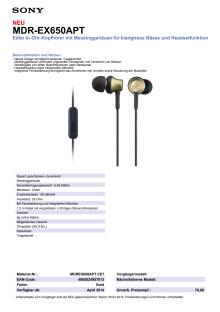Datenblatt_MDR-EX650APT von Sony