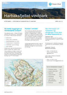 Nyhetsbrev Harbaksfjellet vindpark #1 - 2018