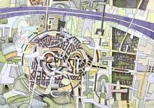 Imaginära kartlandskap visas på stadsbiblioteket