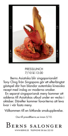 Presslunch: Berns Asiatiska blir singaporianskt!