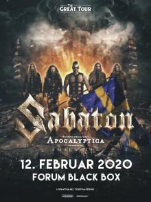 """Sabaton på """"The Greatt Tour"""" med Apocalyptica og Amaranthe som special guests i Forum Black Box til februar"""