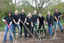 Center Parcs Woburn Forest management team volunteers help prepare natural play area