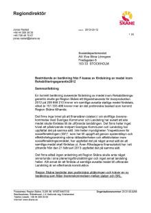 Region Skånes brev till Socialdepartement
