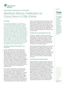 Rainforest Alliance-certifieringens effekt hos kakaoodlare i Elfenbenskusten