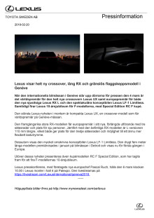 Lexus visar helt ny crossover, lång RX och gränslös flaggskeppsmodell i Genève