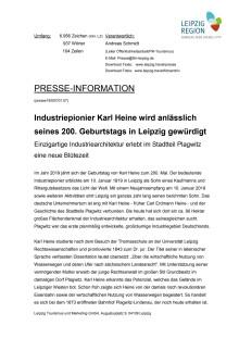 200 Geburtstag von Industriepionier Karl Heine am 10. Januar 2019