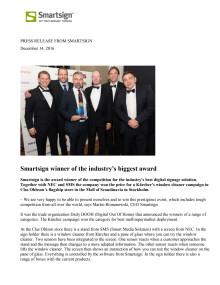 Smartsign winner of the industry's biggest award