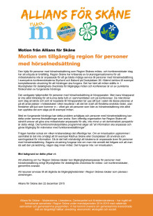 Allians för Skånes motion om tillgänglig region för personer med hörselnedsättning