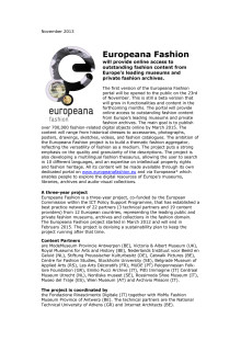 Europeana Fashion portal to be opened 2013-11-23