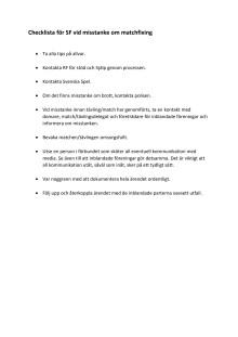 Checklista vid misstanke om matchfixing