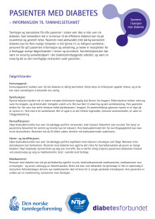 Informasjon til tannhelseteamet - pasienter med diabetes