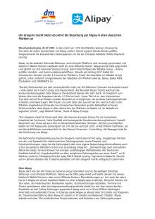 dm-drogerie markt bietet ab sofort die Bezahlung per Alipay in allen deutschen Märkten an