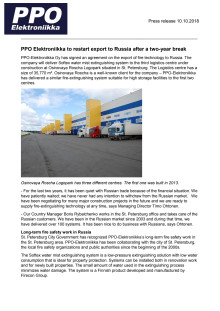 PPO Elektroniikka to restart export to Russia after a two-year break