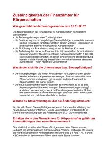 FAQ - Neue Steuernummer ab 1. Januar 2016  in Berlin. Was ist zu beachten?