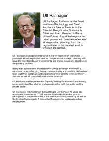 Professor Ulf Ranhagen is one of the speakers at the Urban Agriculture Summit, January 2013