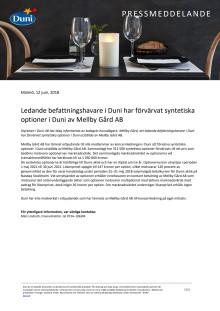 Ledande befattningshavare i Duni har förvärvat syntetiska optioner i Duni av Mellby Gård AB