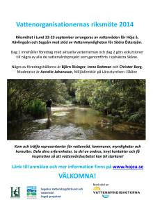 Program för riksmöte för vattenvård, Lund 22-23 september 2014