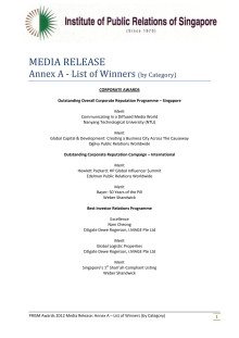 Prism Awards 2012 Annex A - List of Winners (By Category)