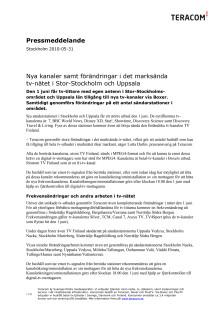 Nya kanaler samt förändringar i det marksända tv-nätet i Stor-Stockholm och Uppsala