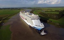 Norwegian Escape completes her conveyance along the Ems River