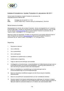 Kallelse till APL årsstämma 2011