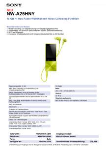 Datenblatt NW-A25HN von Sony_gelb