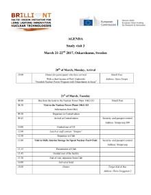 Agenda BRILLIANT Stuidebesök 21-22 mars 2017