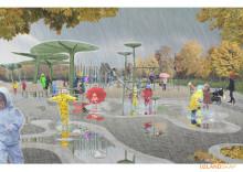 Bild på regnlekplatsen i regn, illustration av 02Landskap