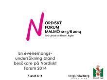 Enkätundersökning Nordiskt Forum 2014