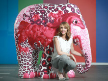 Alex Jones pictured with her Elephant Parade creation at BBC studio