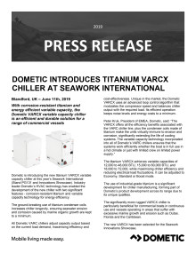 Dometic Introduces Titanium VARCX Chiller at Seawork International