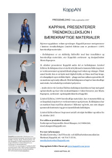 Pressemelding Limited Edition Sustainable bt Kappahl
