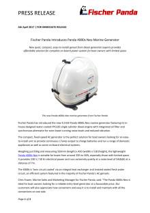 Fischer Panda Introduces Panda 4000s Neo Marine Generator