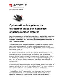 Optimisation du système de tiltrotateur grâce aux nouvelles attaches rapides Rototilt