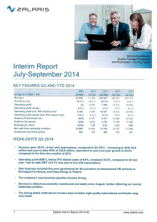 Zalaris Interim Report Q3 2014