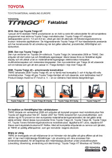 Faktablad - Toyota Traigo HT - elektrisk motviktstruck