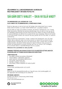 Inbjudan till paneldebatt i Almedalen om odds på politik