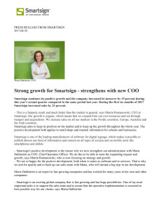 Strong growth for Smartsign - strengthens with new COO